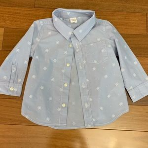Baby gap light blue w/ snowflakes button down